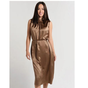 NWT! Vince Knot Front Twisted Neck Midi Dress $395